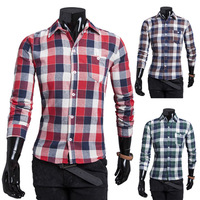 Free Shipping 2014 New Autumn/Winter Hot Sale Casual Slim Cotton Men's Shirts Long-sleeve Simple And Easy Big Plaid Men Shirts