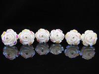 60PCS WEDDING BRIDAL WHITE ROSE CRYSTAL HAIR PINS PROM NEW