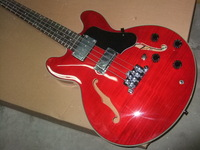 Free shipping es 335 model semi hollow  Electric  bass guitar red top guality  201103