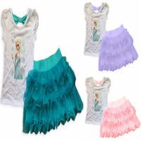 2014 New Girls Frozen Princess Elsa Dress + T shirt 2 Pcs Set Layered Tutu Dress Sets Frozen Clothing Sets, frozen sets,
