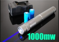 High Power 1000mw 450nm blue Beam Laser Pointer Pen 1W real power with charger,battery,5 caps and retail box freeshipping by DHL