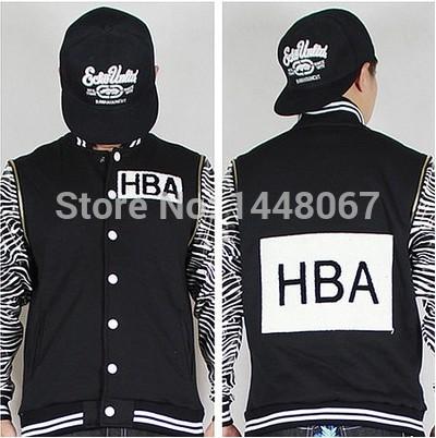 Hip Hop HBA Imprimir Rua Crewneck Hoodie Fleece Hip Hop Moletom HBA mangas de couro destacável roupas de beisebol zebra(China (Mainland))