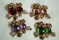 New 2014 Fashion Vintage Shiny Cute Gold Chunky Double Crystal Rhinestone Owl Brooch Pin