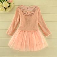 2014 New autumn,girls knitted dress,children fashion dress,long sleeve,beads,bow,pink/yellow,2-8 yrs,5 pcs/lot,wholesale,1808