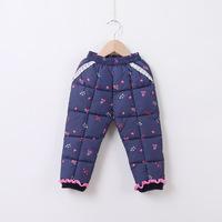 Pink Navy winter children Lace down pants girls kids warm sports trousers ski pants cotton long pants for girls outwear 2-4 y
