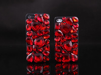 Bling Bling luxury Cell Phone Case With red crystal Rhinestone  Hard Cover Skin For Iphone 4 4s 5 5s 5c 6 free shipping