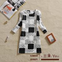 Free shipping U&Me 2014 fashion women's plaid print dress elegant plus size color block one-piece dress