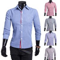 Free Shipping 2014 New Autumn/Winter Hot Sale Casual Slim Cotton Men Shirts fashion Long-sleeve turn-down collar Plaid Shirt Men