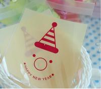 100pcs 10x13cm 10x10+3cm Clown Happy New Year Adhesive Bag Food Cookie Bag Plastic OPP Bag Jewelry Gift Poly Bag