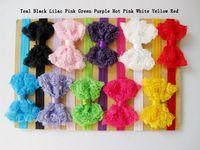 10pcs/lot Baby Girl Lace Rose Bow Shabby Flower Chic Headband
