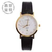 High quality 2014 gold watch brand genuine leather for women calendar diamond quartz watch LB8858a-09