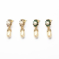 Min order $15 (Can Mix Item) Gold luxurious created crystal diamonds pearl water drop stud earring