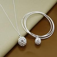 925 silver set-T125-Xmas jewelry,Fashion Bangle Necklace Jewelry Set,925 Sterling Silver jewelry set,New Arrival,Free Shipping