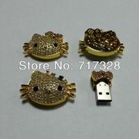 hot-sell Waterproof Metal USB Flash Drive Pen Drive 8GB 16GB 32GB 64GB USB 2.0 Flash drives U Disk With Hello Kitty USB Drive