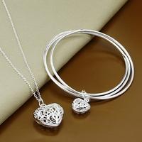 925 silver set-T127-Free Shipping,2014 New,Xmas jewelry,Fashion Bangle Necklace Jewelry Set,925 Sterling Silver jewelry set