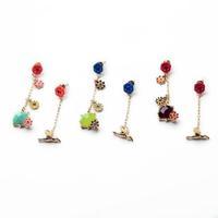 Min order $15 (Can Mix Item) Gold luxurious created crystal diamonds gemstone flower bird stud earring