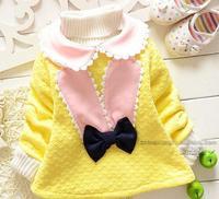 Thick fleece cotton winter cute rabbit ear bowknot pattern princess girl's bottom shirt for retail,children's base primer shirt