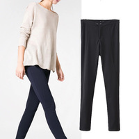 Europe United States designer pants for women, 2014 ladies sutumn new fashion trousers, Slim thin button all match casualm pants