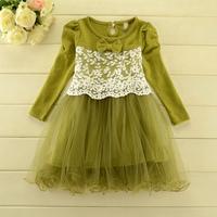 2014 New autumn,girls cotton princess dress,children lace floral dress,long sleeve,bow,3 colors,5 pcs/lot,wholesale,1809