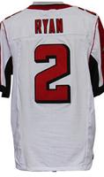 Cheap Free Shipping American Atlanta Football #2 Matt Ryan Jersey White, Red Stitched Logo Elite