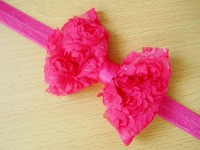 24pcs/lot Colorful Rose Flower Lace Baby Girl Headband- Photo Props