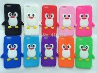 3D Cartoon Penguin silicone case for iphone 6 6G,wholesale 5pcs/lot