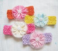 30pcs/lot 10 Styles Baby Girls Knitted Chiffon Flower Hairband Wholesale