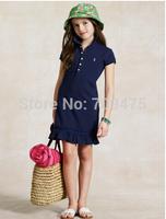 1 set free shipping Girl Summer Short sleeve Dress Cotton Casual A-line Fashion Skinny Mini Dress Brand Pony Dress
