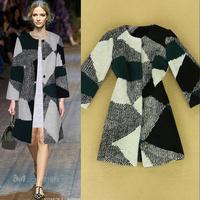new grid spell color catwalk aristocratic temperament big woolen coat  women
