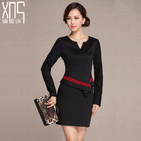 twods xns 2014 new autumn dress women ol office business dresses v neck high waist slim hip elegant full sleeves work dress