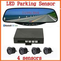 FREE DHL 3pcs/lot Car LED Display Bluetooth Handsfree Rear view Mirror Parking Sensor Mirror Reversing Aid System FM Bluetooth