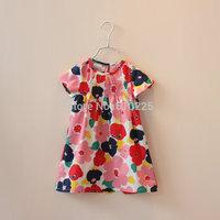 New 2014 Children Clothing Flower Girls Dresses Summer Cotton Short Sleeve Baby Girls Dress Casual Summer Wear