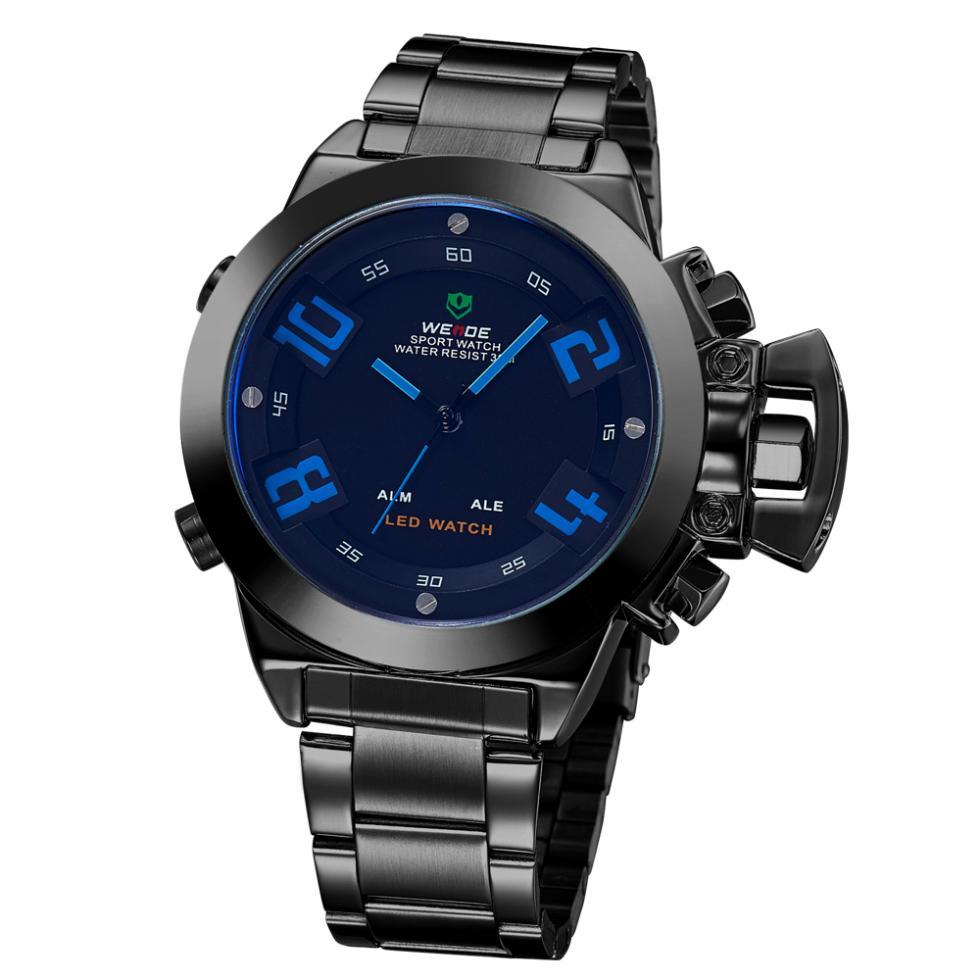 WEIDE Waterproof SHARK Analog Digital Date Dual Time Mens Quartz Sport LED Watch Original JAPAN Quartz + LED digital movement(China (Mainland))