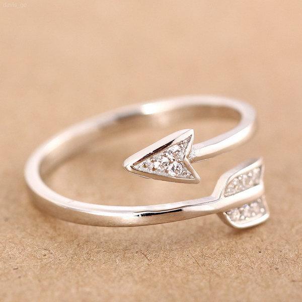 Aliexpress Buy 100% 925 Sterling Silver Fashion Cute Arrow Cockatil Rin