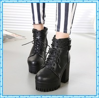 rivets buckle motorcycle ankle booties ladies shoes platform boots woman autumn boots female high heels boots gladiators C463