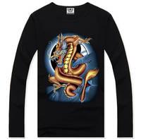 4M301 New 2014 fashion Men Long Sleeve 3d dragon T-Shirts casual t shirts brand shirt good quality free shipping 100%cotton