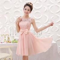 Fashion New Arrival 2014 Lace Chiffon Wedding Dress Summer Short Dress Double Shoulder Wedding Dress for Bride S, M, L, XL
