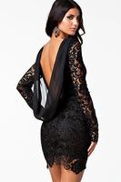 XL Winter 2014 Sexy Black Crochet Open Back Vintage Dress LC21138 vestido curto de renda festa casual lace loose Dresses