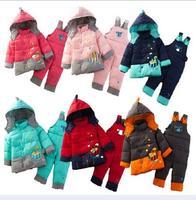 Children winter clothing set girls clothes winter suit 2pcs coat  overalls pants hoody down parkas sets for kids boys suits 1-3y