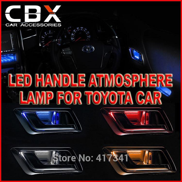 Car 12V Auto Interior Led Atmosphere Light Front Inside Door Handle Illumination for Toyota Crown Reiz Alphard Premio Highlander(China (Mainland))