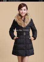 2014 Winter Brand New Coat Big Raccoon Fur Collar Slim Fit Down Hooded Coat Thick Warm Women Down Jackets