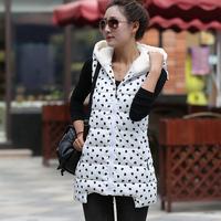 New 2014 Hot Selling Women Winter Dot Vest Down Coat Hoodies Vest Sleeveless Thinken Warm Vest Cotton Vest 5 Colors YYJ509