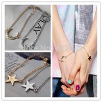 2014 Vintage Jewelry women Simple Moon Star  Bracelet Charm Chain Dress Costume Bracelets Bangles Jewelry