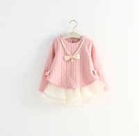 Free shipping 2014 New Arrival Spring Autumn Child Dresses Girls Dresses Baby Leaves Dark Plaid Gauze Long Sleeve Doll Dresses