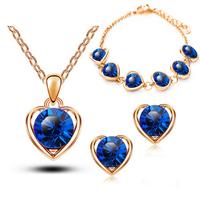 Fashion New Gold & Silver Austrian Crystal heart shape Jewelry Set,TZ-1331