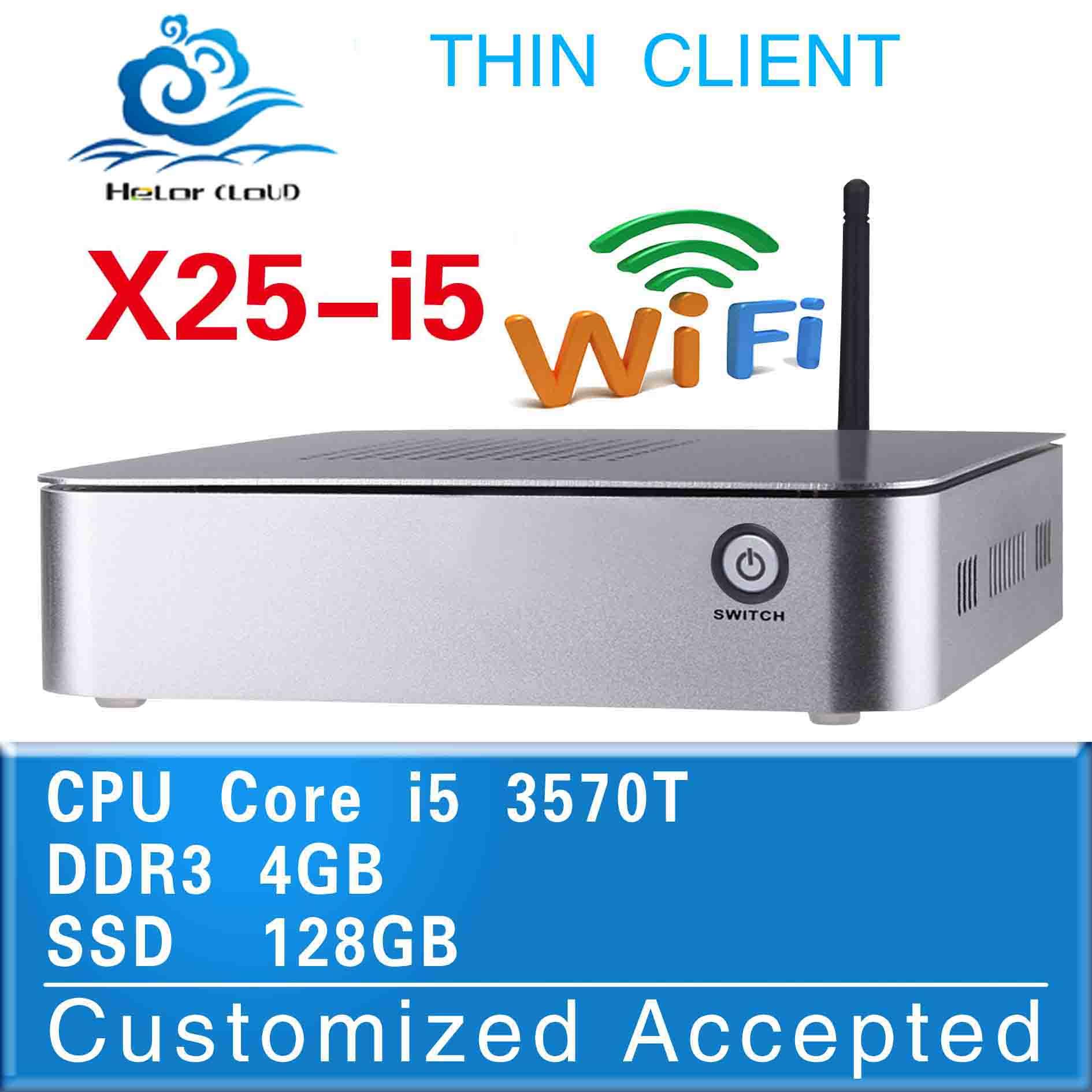 Hot on sale x25-i5 intel i5 2390T desktop computer case mini pc 4gb ram 128gb ssd thin client support full screen movies(China (Mainland))