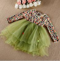New Baby Girls Korea High Quality Fashion Dot  Bow Tutu Dresses, Princess Formal Lady Wear  5 pcs/lot, Free Shipping