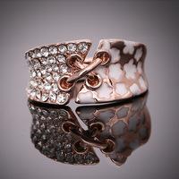 18K Rose Gold Plated Vintage Ring Transparent Austrian Crystal Women Wedding Rings Enamel Ring Innovative Items ER002