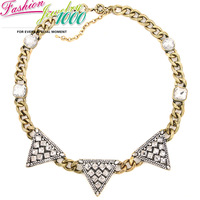 Brand Vintage Crystal Triangle Square Collar Necklace Fashion Chunky Statement Choker Jewelry for Women Gift Party Accessories