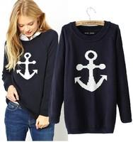 2014 Hitz Europe wind WOMENS NAVY wind knitting anchor pattern sleeve head sweater long sleeved sweater tide